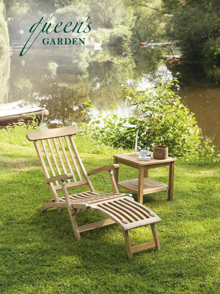Deckchair mit Beistelltisch QUEENS GARDEN «YORK»Teak Gartenmöbel ...
