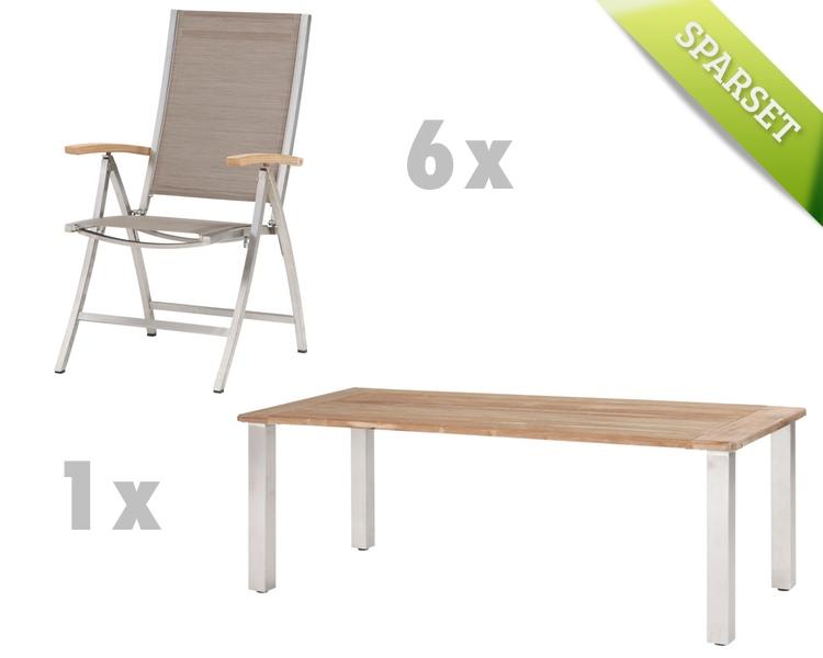Holz gartentisch 4seasons casa 240x110 edelstahlbeine for Esstisch viereckig