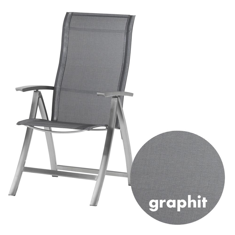 Gartenstuhl 4SEASONS «Slimm Hochlehner Graphit» Klappsessel Edelstahl,  Textilene