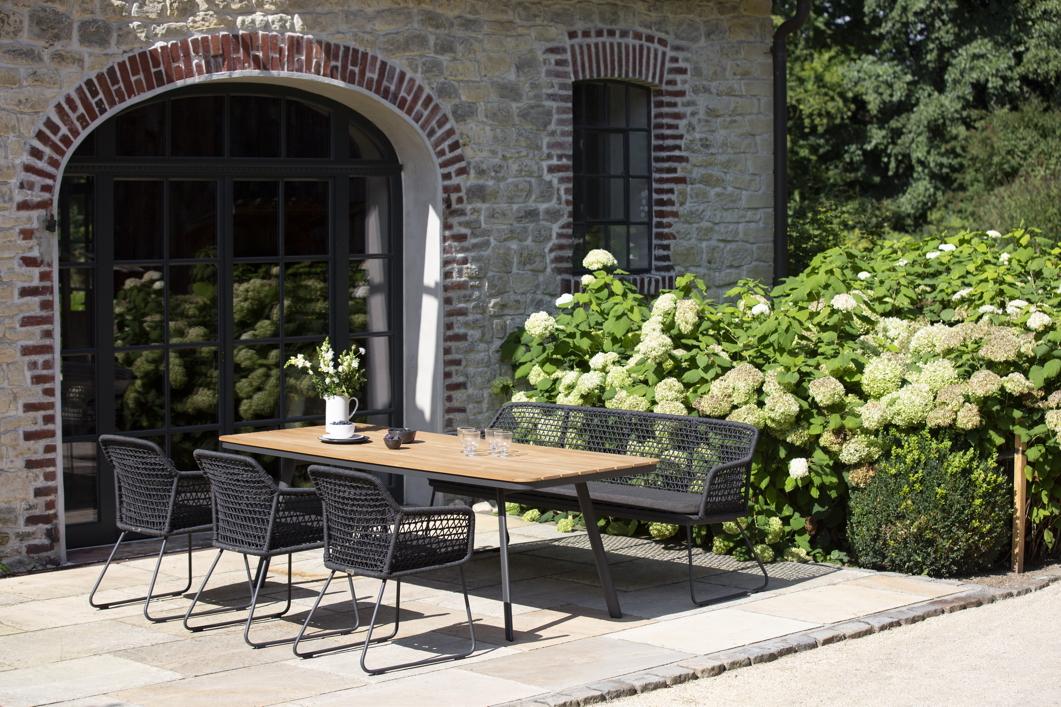 Gartentisch Niehoff Kubu Esstisch 220x95 Aluminium Teakholz Natur Vom Gastromobel Fachhandler