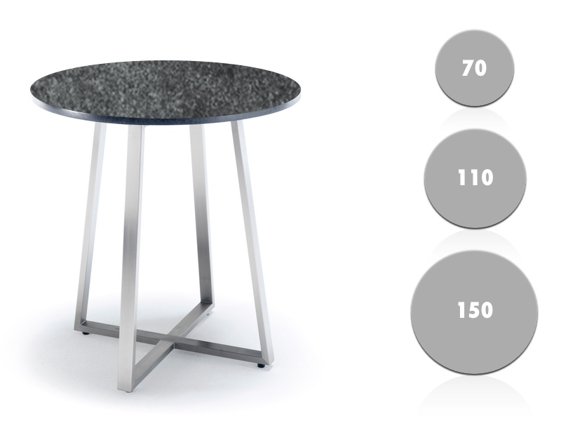 Gartentisch Solpuri R Series Bistrotisch Rund Edelstahl Keramik