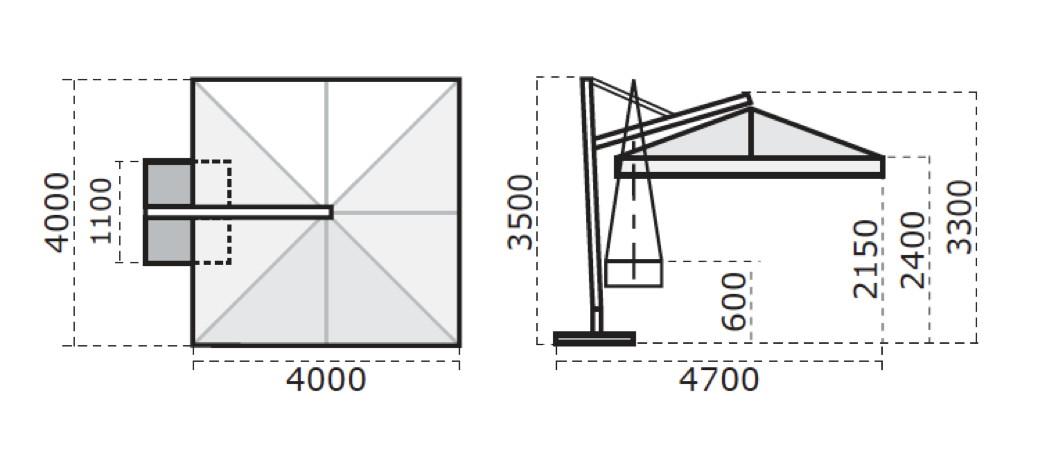 Sonnenschirm Scolaro Galileo Maxi 4x4 Ampelschirm Aluminium