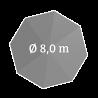 Ø 800 cm, rund