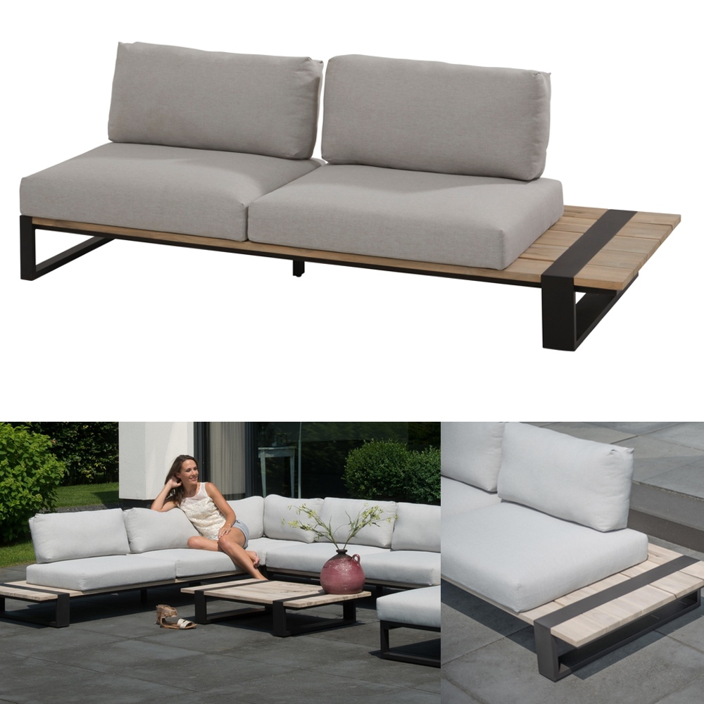gartenbank 4seasons duke 2er sofa links aluminiumgestell teakholz kissen vom gastrombel. Black Bedroom Furniture Sets. Home Design Ideas