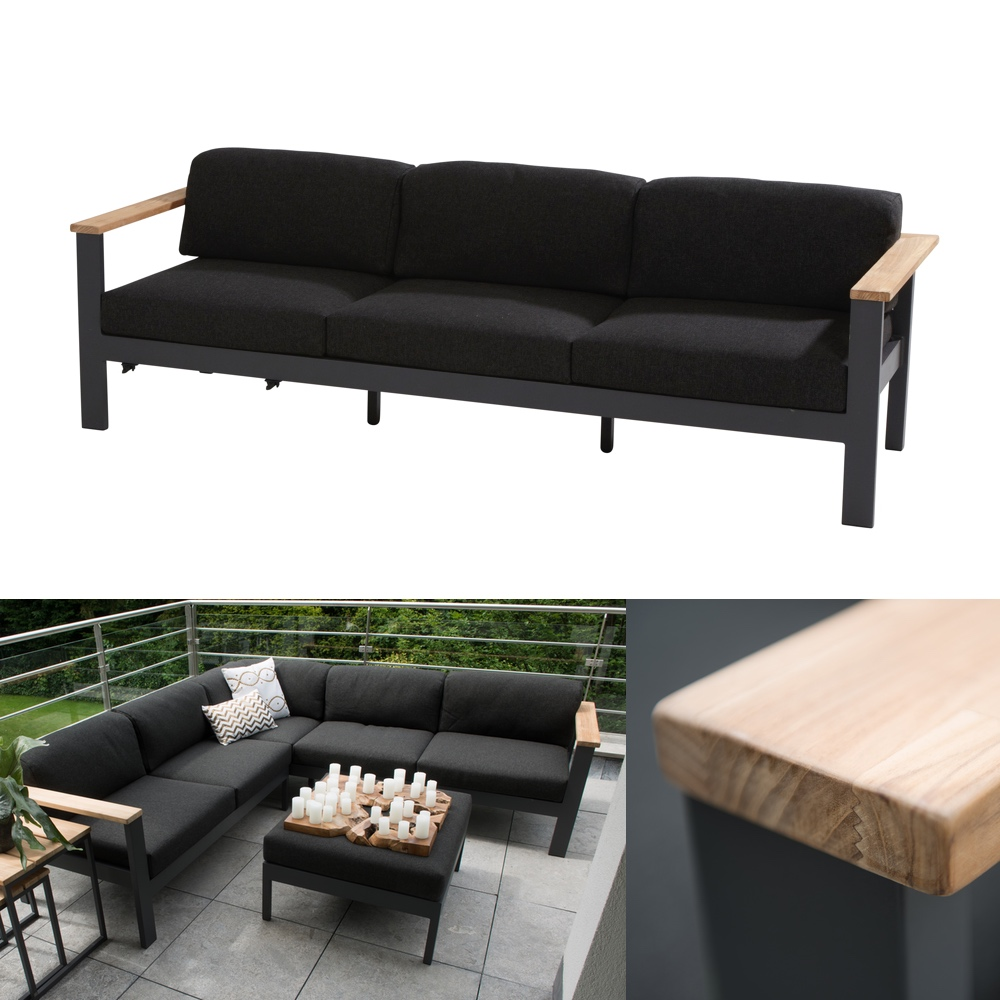 gartenbank 4seasons orion 3er sofa couch teak mit kissen vom gastrom bel fachh ndler. Black Bedroom Furniture Sets. Home Design Ideas