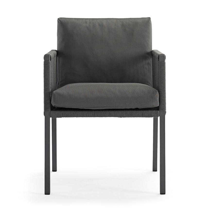 gartenstuhl solpuri club dining sessel anthrazit aluminium mit kissen vom gastrom bel. Black Bedroom Furniture Sets. Home Design Ideas