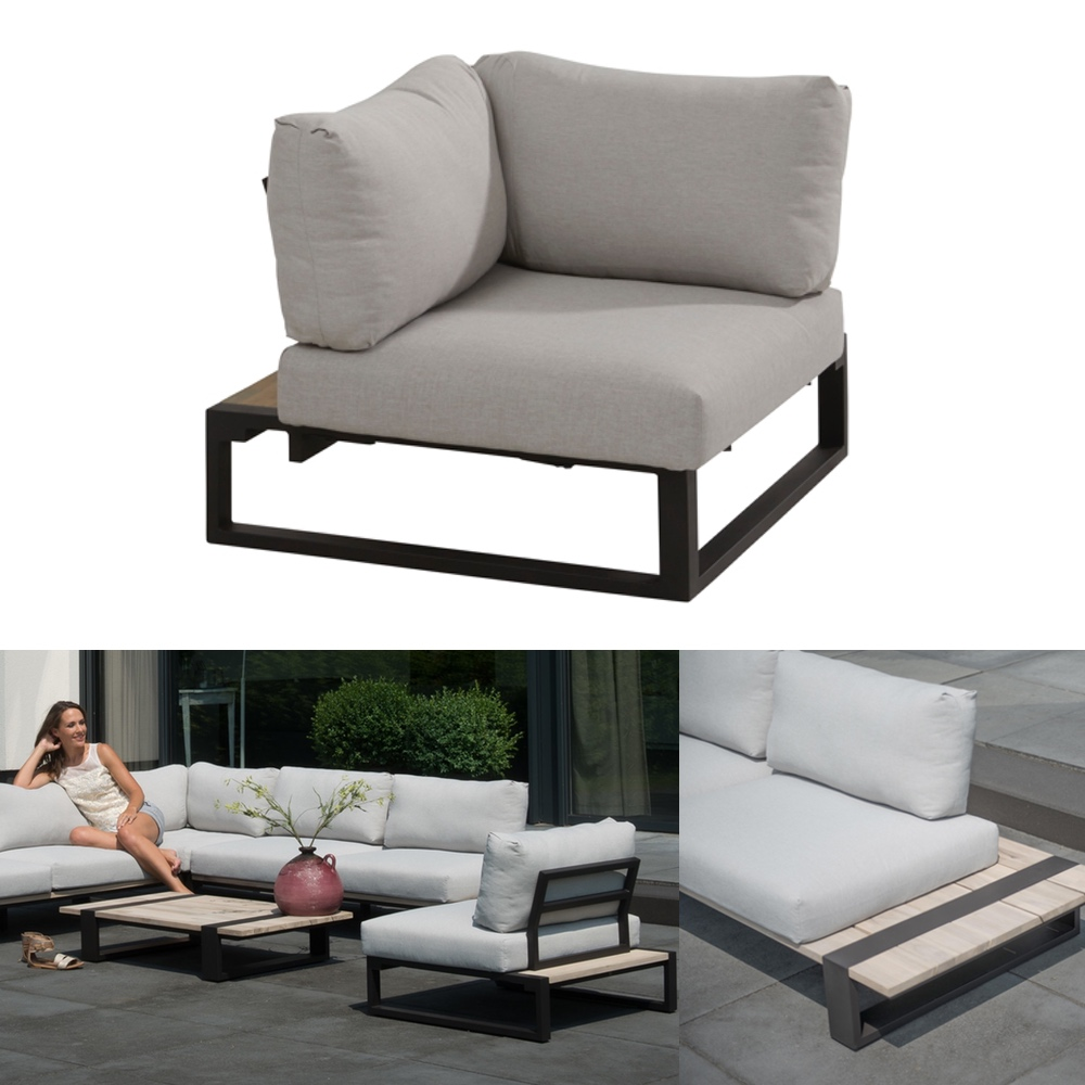 gartenstuhl 4seasons duke lounge eckelement aluminiumgestell teakholz kissen vom. Black Bedroom Furniture Sets. Home Design Ideas