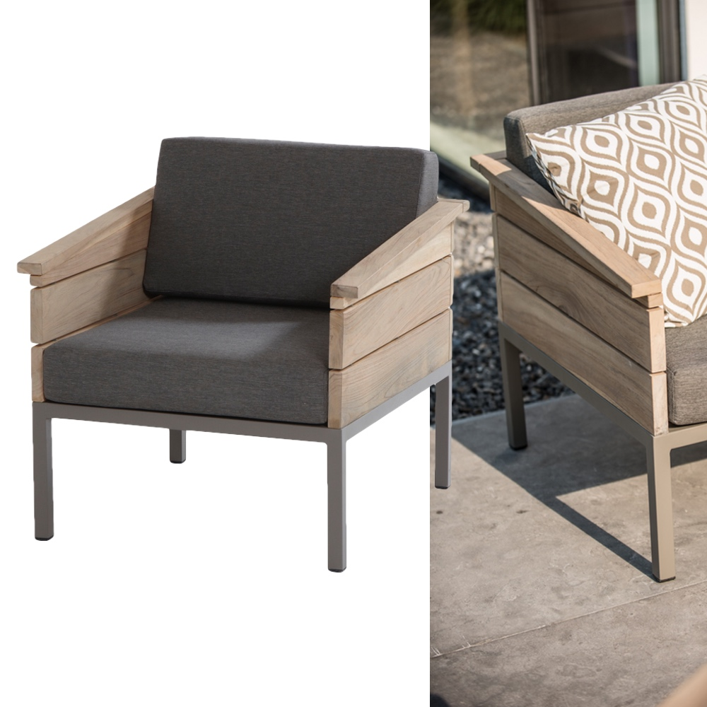 gartenstuhl 4seasons cava loungesessel alumminium teakholz vom gastrom bel fachh ndler. Black Bedroom Furniture Sets. Home Design Ideas