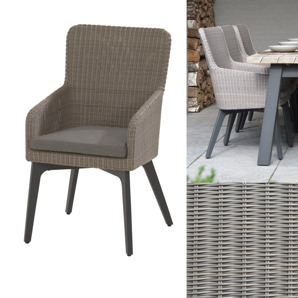 gartenstuhl 4seasons luxor polyloom pebble dining sessel. Black Bedroom Furniture Sets. Home Design Ideas