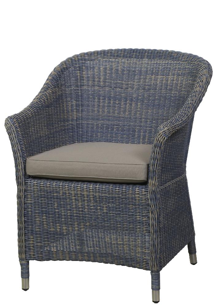 Esstisch Sessel Blau ~ Sitzgruppe QUEENS GARDEN «Country» Esstisch Garnitur, Teak und Rattan blau